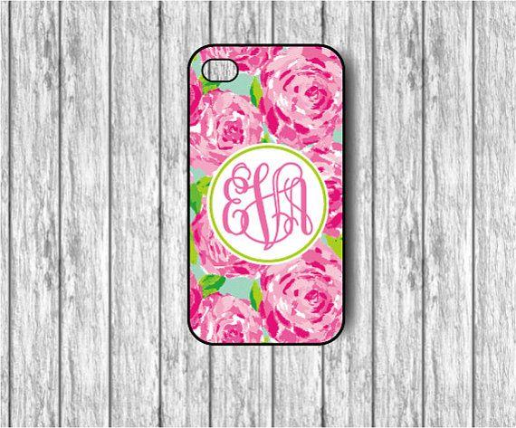 Floral Design- Chalkboard background- iPhone 4/4s case - iPhone 5/5s/5c case - Monogram iPhone case -  Floral iPhone Case - Monogrammed