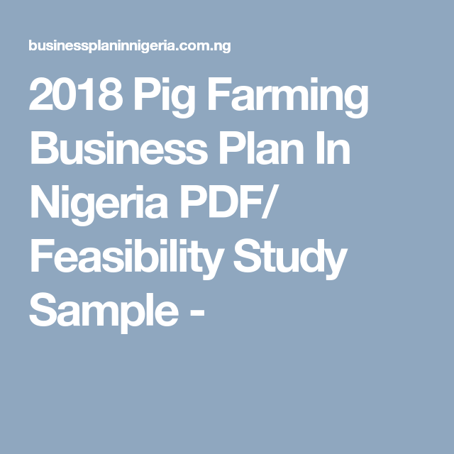 2018 Pig Farming Business Plan In Nigeria PDF/ Feasibility