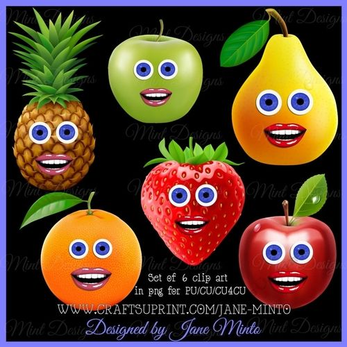 FUNNY FRUIT CLIP ART by Jane Minto All in png at 300dpi. For PU/CU/CU4CU.: All in png at 300dpi. For PU/CU/CU4CU.