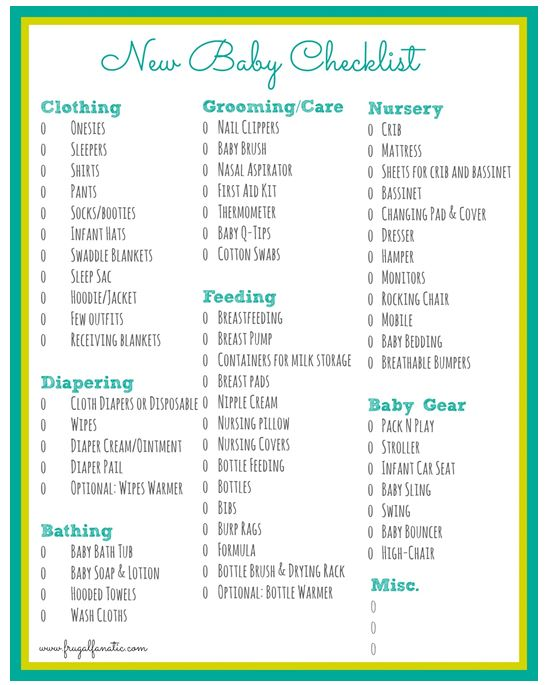 Baby Checklist Free Printable Baby Checklist New Baby Checklist New Baby Products