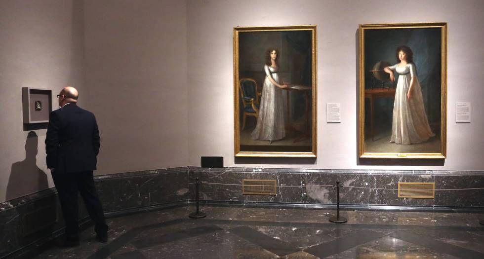 Retratos de Josefa Manuela (izquierda) y de Joaquina Téllez-Girón, en la muestra 'El desafío del blanco. Goya y Esteve retratistas de la casa de Osuna'.