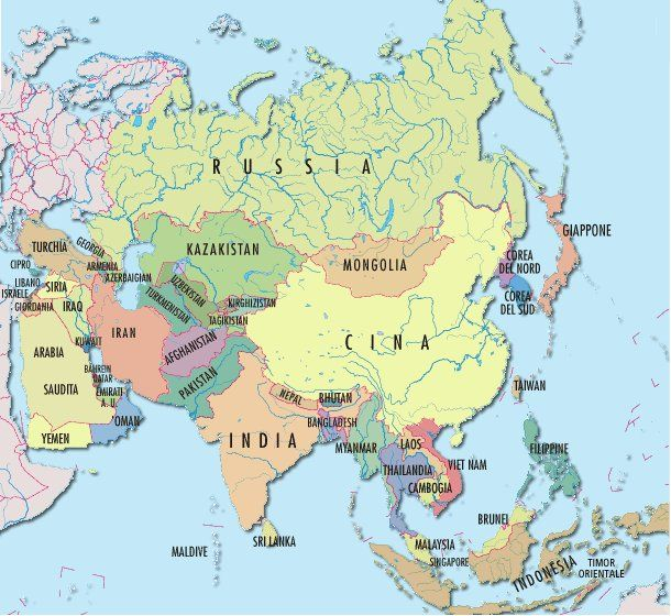 Cartina Politica Dell Asia Con Stati E Capitali.Cartina Politica Asia Asia Geografia Filippine