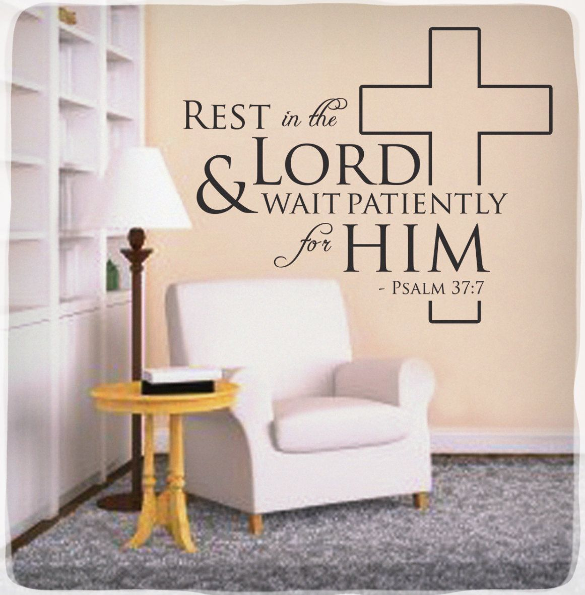 Psalms wall decals christian wall decals ine walls - Rest In The Lord Wall Decal Sticker Psalm 37 7 Christian Bible Quote Verse