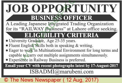 Prrogressive Education Network Lahore Jobs Jobs In Pakistan - business officer sample resume