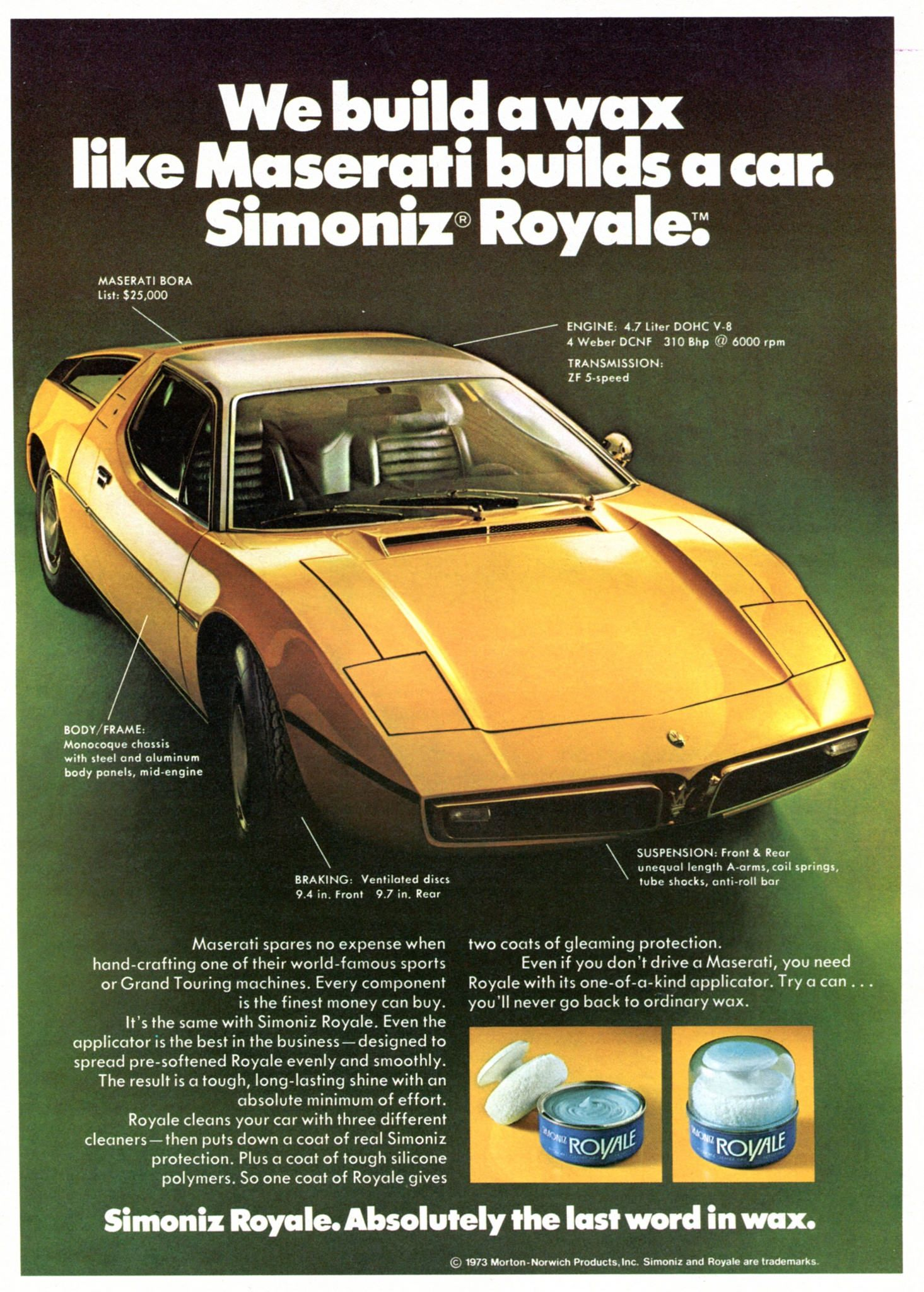 1974 Simoniz Royale Car Wax Advertising Road & Track July 1974