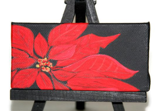 Painting Poinsettia Acrylic On Black Canvas by CocoRaes on Etsy