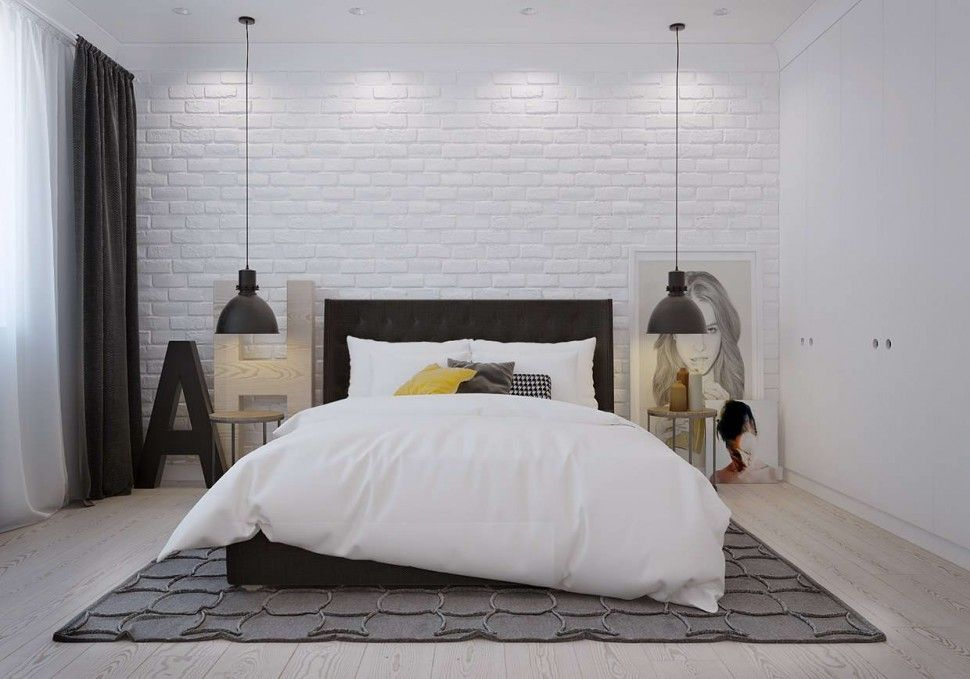 Bedroom Enjoyable Scandinavian Bedroom Decor With White Brick Pattern Wall Also Black Scandinavian Bedroom Decor Brick Wall Bedroom Scandinavian Style Interior