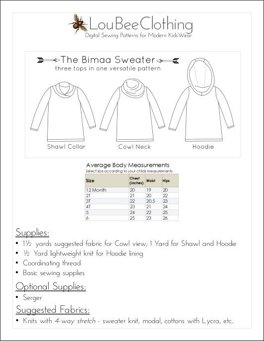 BIMAA Sweater - PDF Sewing Pattern Hoodie, Cowl Neck, or Shawl ...