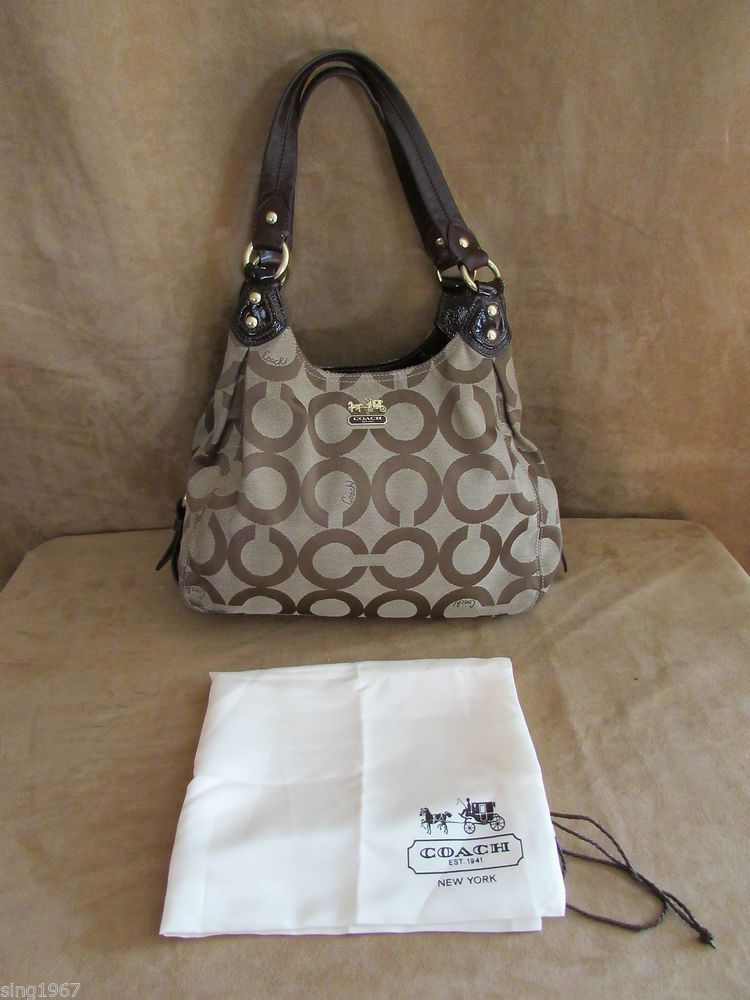 ... Coach Signature Madison Op Art khaki dust cover purse Hobo bag Maggie  15097 Coach ... aa6d733c212b9
