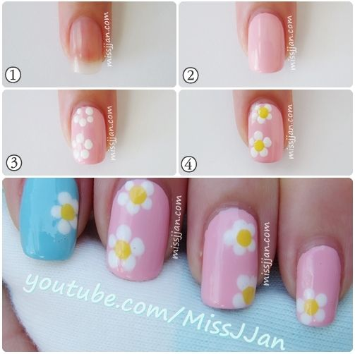 Easy Daisy Flower Nail Art Using A Toothpick Flower Nail Art Flower Nails Nail Art Summer