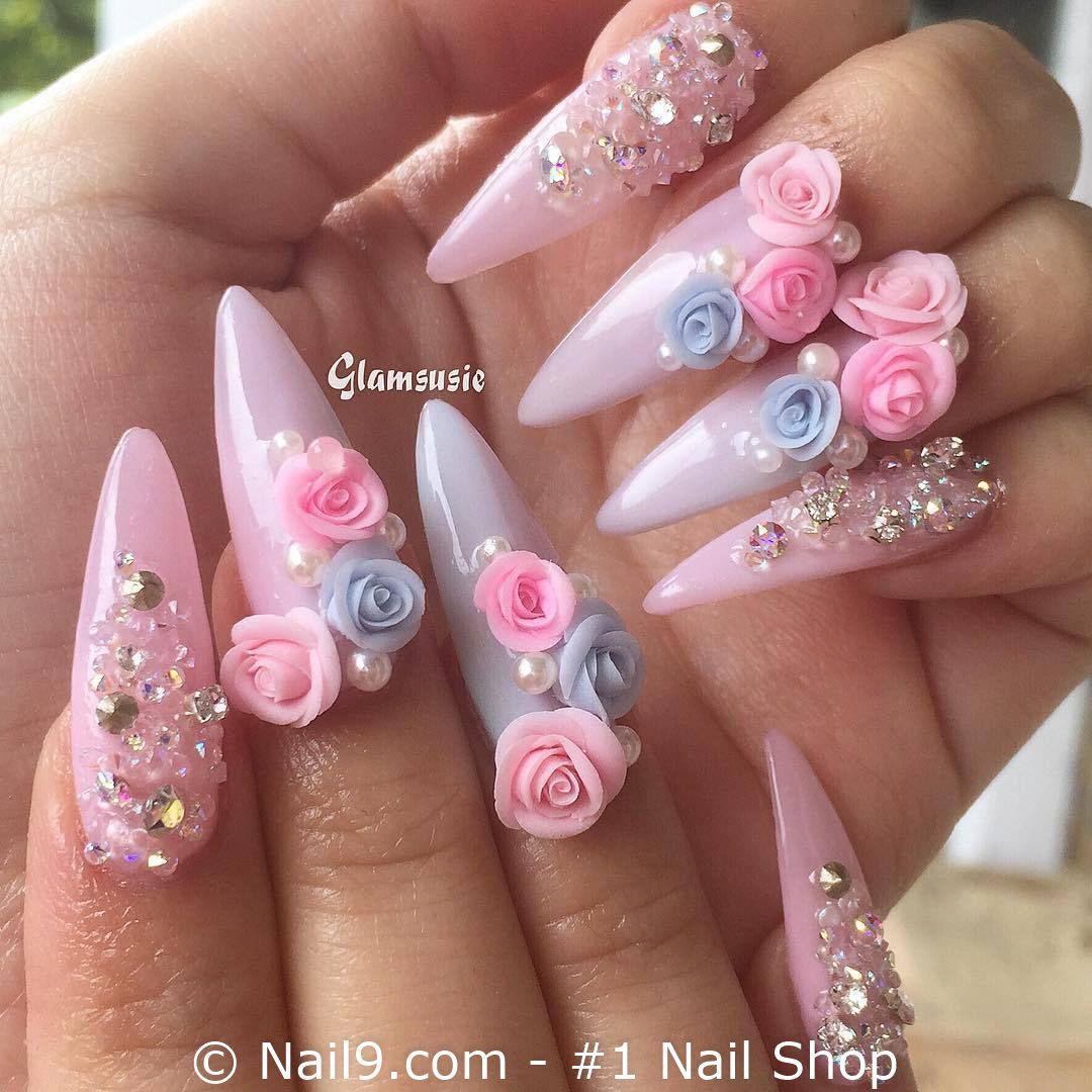 So Lovely Visit Https Nail9 Com 1 Nail Shop Nails Nailart Nail Naildesign Naildesigns Nailpolish N Long Acrylic Nails Rose Nail Art 3d Nails