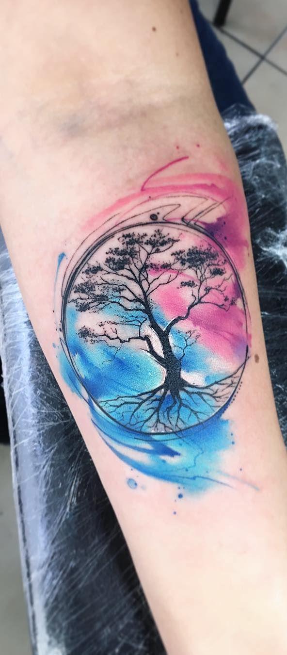 Space Tattoos Moon Tree Of Life Tattoo Sleeve Tattoos