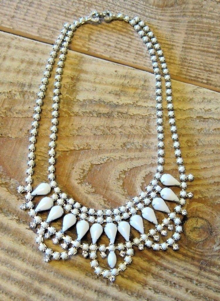 Tom Binns Carte Blanche Scallop Milk White Crystal Necklace New In