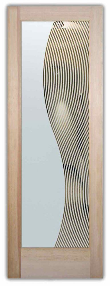 Divise stripes solid frost etched glass door by sans - Frosted glass interior bathroom doors ...