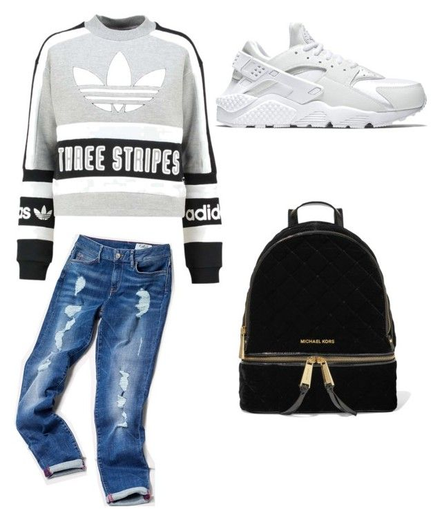 """casual"" by amy-chavez-1 ❤ liked on Polyvore featuring adidas Originals, Tommy Hilfiger, NIKE and MICHAEL Michael Kors"