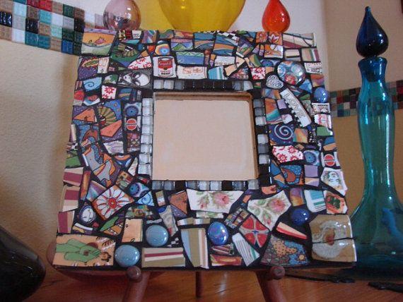 Tile Plaques Home Decor Mirror Wall Hanging Plaque Home Decor Mixed Media Mosaic Art Tile