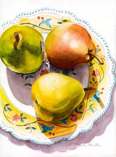 3 Pears and a Plate by Marsha Chandler - Click Image to Close