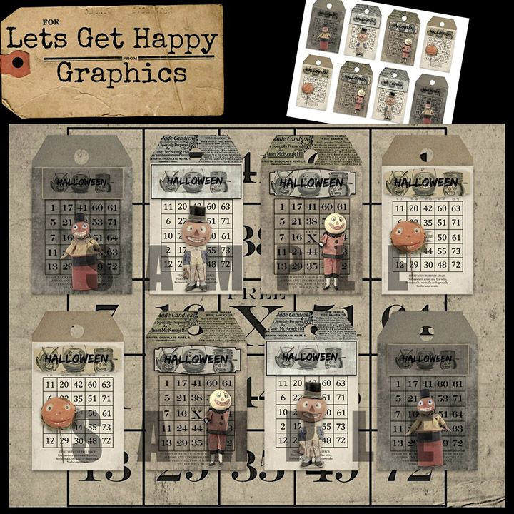 Antique Halloween candy container primitive gift tags. Love those cute pumpkin faces!