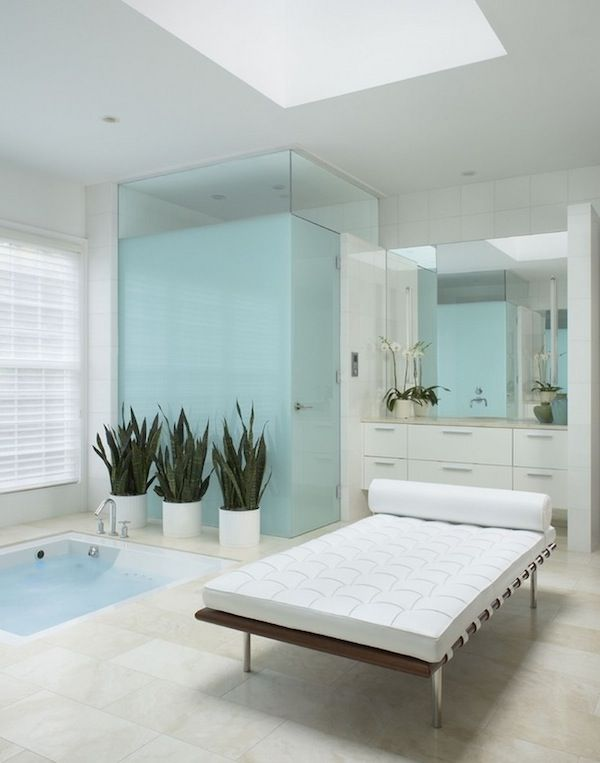 Spa bathroom chaise lounge how to infuse your bathroom for Bathroom chaise lounge