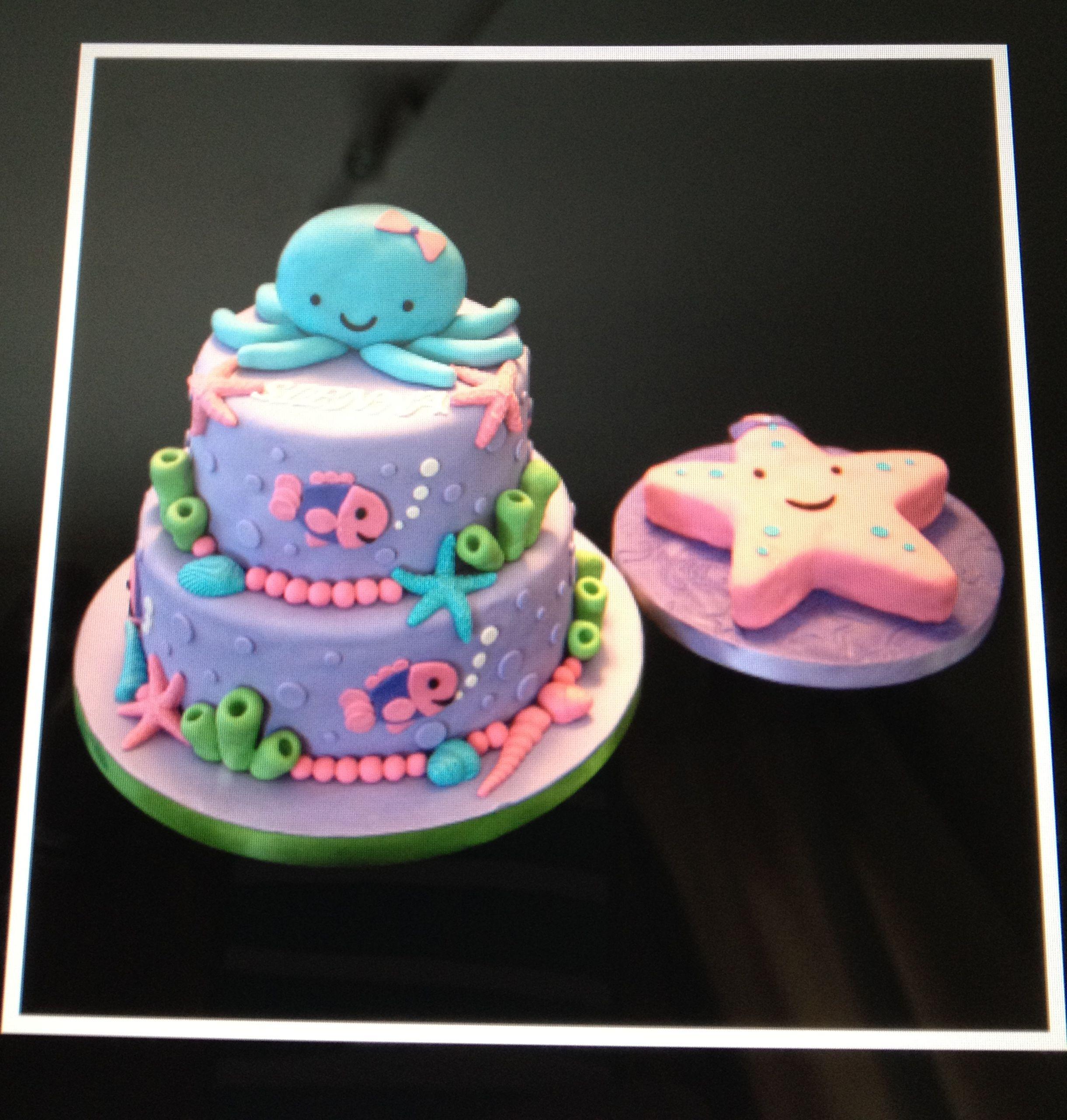 Peachy Under The Sea Girls Birthday Cake First Birthday Cakes Birthday Funny Birthday Cards Online Eattedamsfinfo
