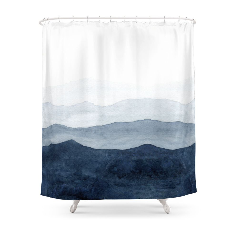 Indigo Abstract Watercolor Mountains Shower Curtain By Ccartstudio