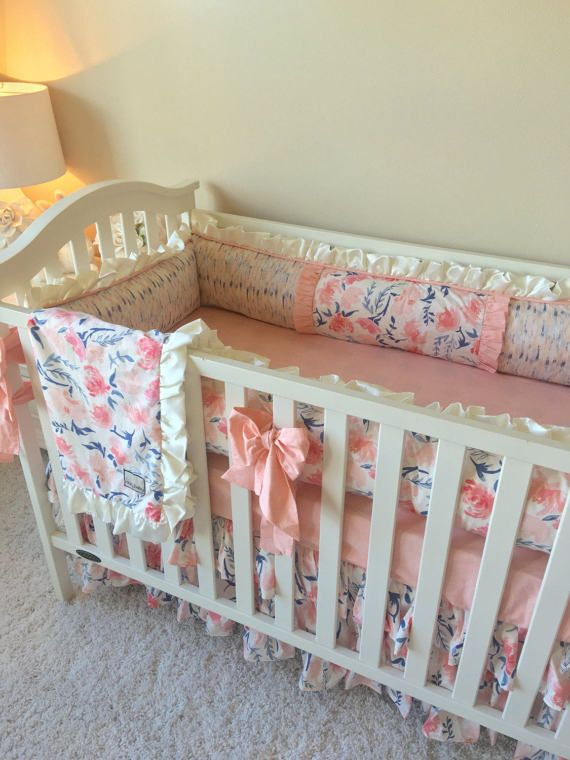 Blush Floral Bedding Sets For Baby Girl Peachy Geo Crib Set Custom Baby Bedding Luxury Bab Bumperless Crib Bedding Luxury Baby Bedding Bumper Pads For Cribs