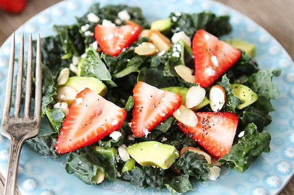 Wild spinach salad - wild spinach, 1 avocado, almonds, strawberries, cheese (feta or blue cheese)  Dressing: 4 spoons of olive oil, 2 spoons of lemon juice, half of lemon (put in the dressing), 1/2 spoon of poppy seed, 1/2 garlic clove