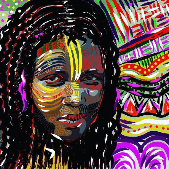 Afrocentric Art African Woman Jamaican Wall Canvas Artwork Afric