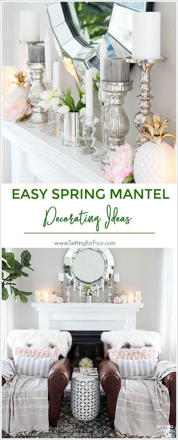 Easy Spring Mantel Decorating Ideas | Mantle, Vignettes and Mantels