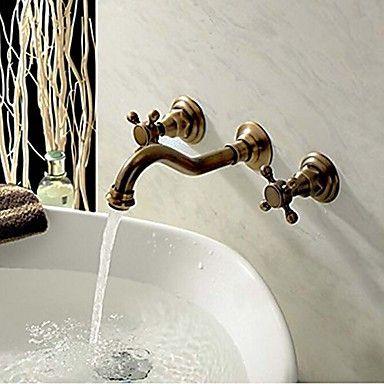 wandmontage twee handvatten drie gaten in antieke koperen badkamer ...