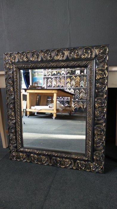 Grote Spiegel Met Brede Lijst.Grote Spiegel Met Facet Zwartgoud Brede Ornamentlijst
