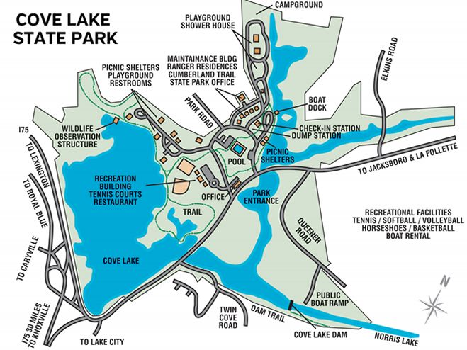 Cove Lake State Park map State Parks Pinterest Cove FC