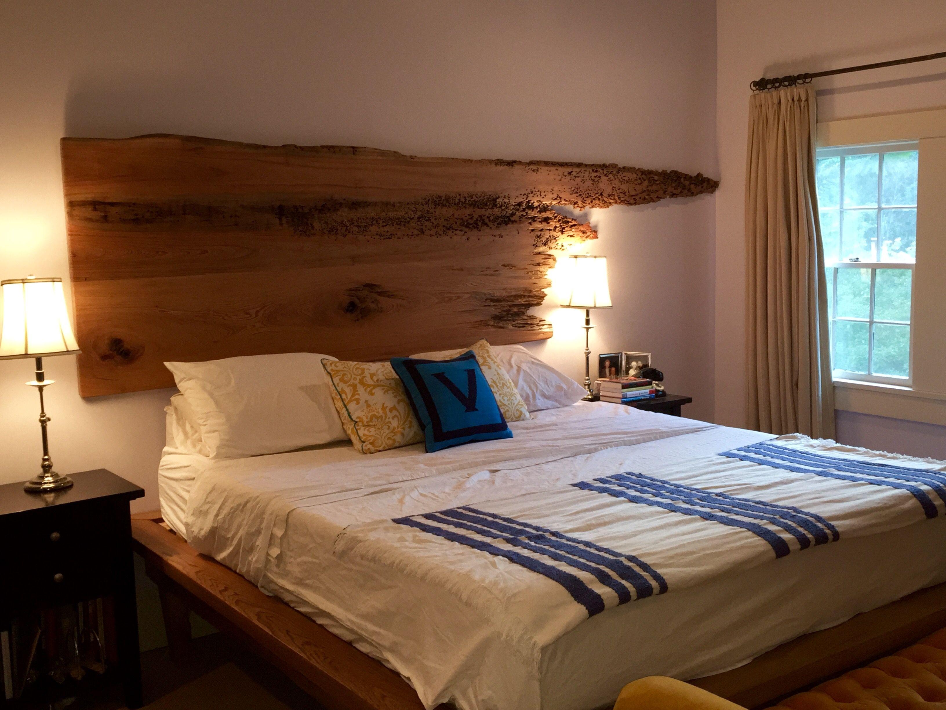 Live edge sinker cypress California king platform bed