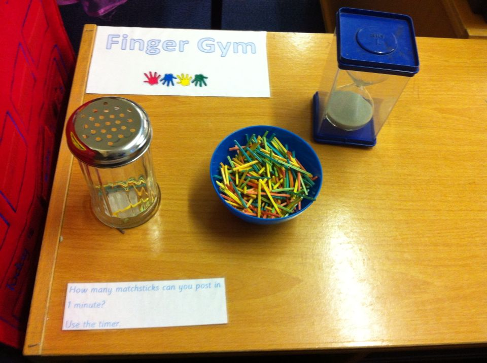 Finger Gym Posting Coloured Matchsticks Into The Flour Shaker How Many Can They Post In 1 Minute Using The Minute Sand Timer