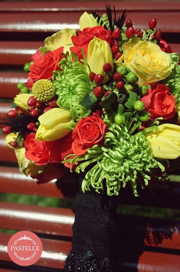 colorful wedding bouquet - red, green, yellow