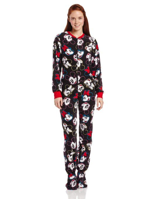 e0262655a41d Women s Mickey Minnie Mouse Adult One Piece Footed  Pajamas
