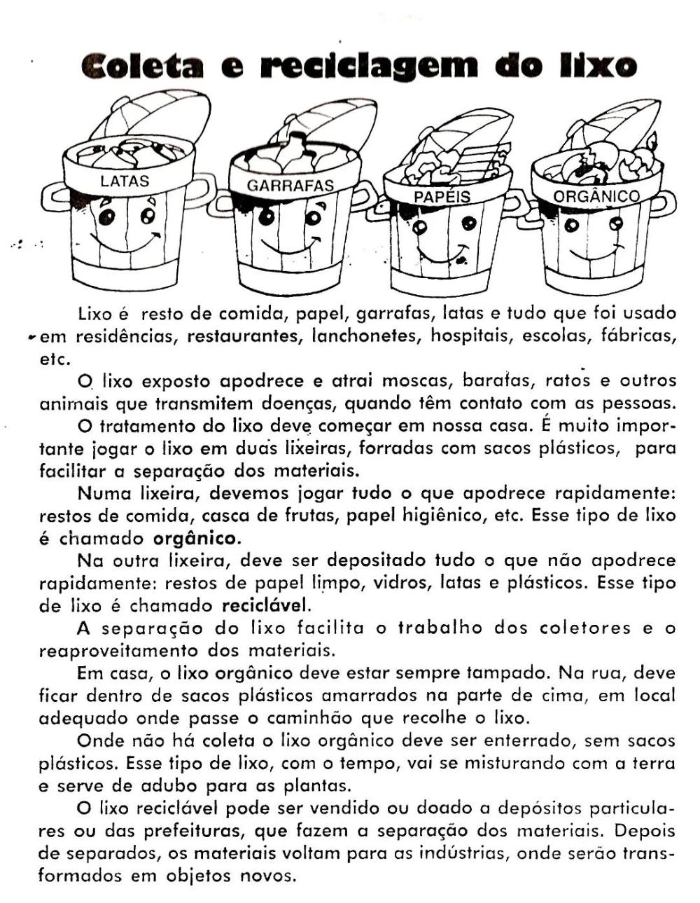 40 Atividades Sobre Reciclagem Do Lixo Para Imprimir Atividades