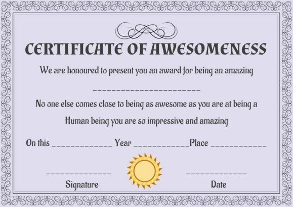 Certificate of Awesomeness Template Certificate | Certificate of ...