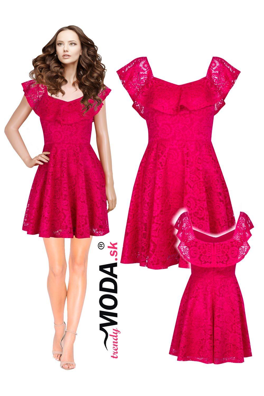 2c0f788ac Krásne ružové krátke dámske spoločenské šaty s efektným volánom ...