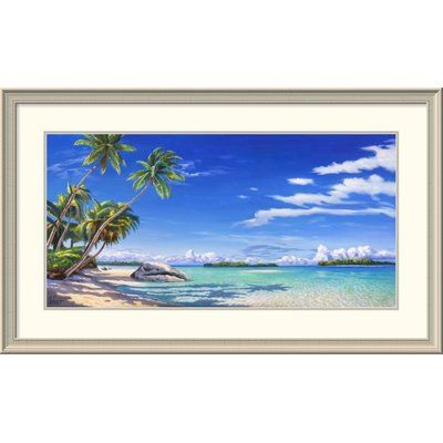 """Global Gallery 'Spiaggia Tropicale' by Adriano Galasso Framed Painting Print Size: 26"""" H x 44"""" W x 1.5"""" D"""