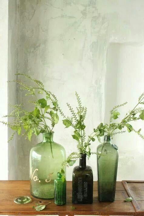 Eine Vase kommt selten allein is part of Pantone greenery, Green bottle, Planting flowers, Green glass, Color of the year 2017, Flower arrangements - Bei diesem InteriorTrend gilt ausnahmsweise mal Quantität vor Qualität  Je mehr Vasen, desto besser   der Inhalt kann dabei gern minimalistisch sein