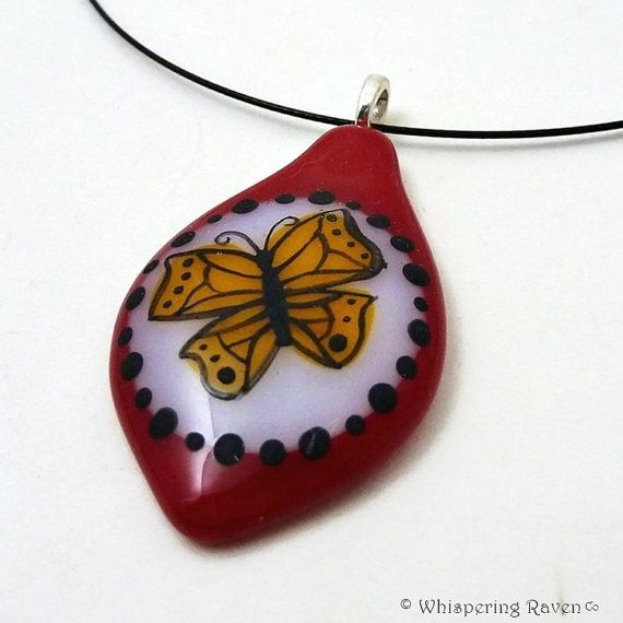 Butterfly Necklace, Whimsical Butterfly Pendant, Entomologist Gift, Red Necklace, Fused Glass Necklace, Wearable Art Pendant, Butterfly