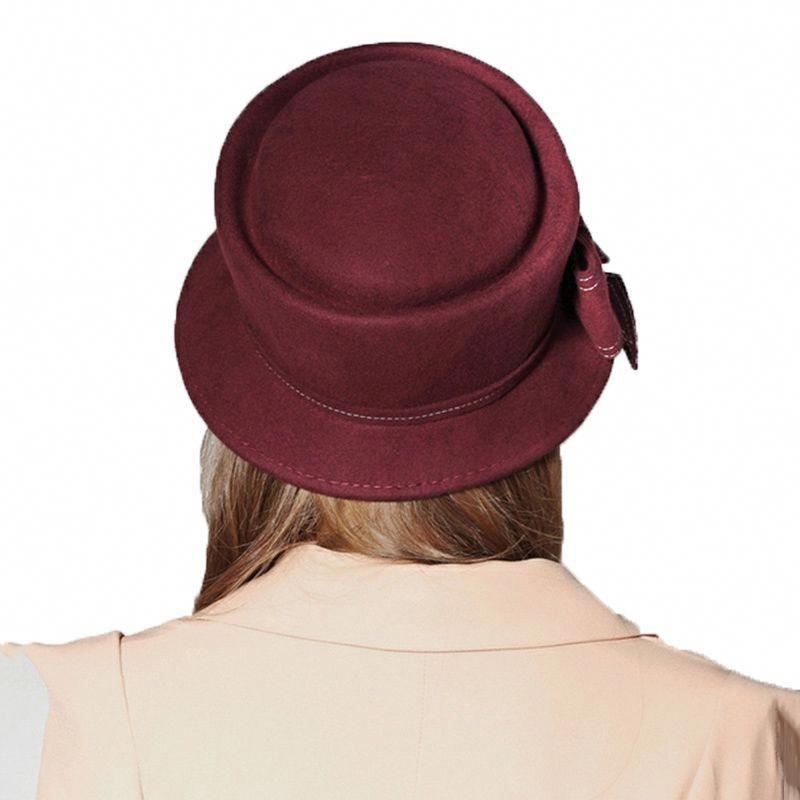 6f97119903ecd Europe American Sombreros Women 100% Australian Wool Cloche Fedora Hats  Women Basin Formal Winter Autumn