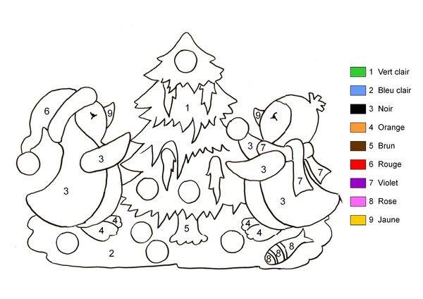 Coloriage Magique Pingouins Et Sapin De Noël Coloriage