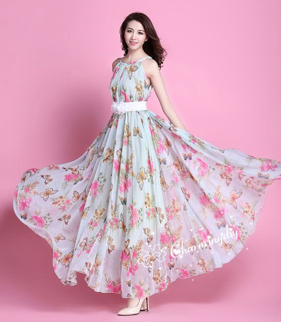 29 Colors Chiffon Butterfly Pink Flower Long Party Evening Wedding ...