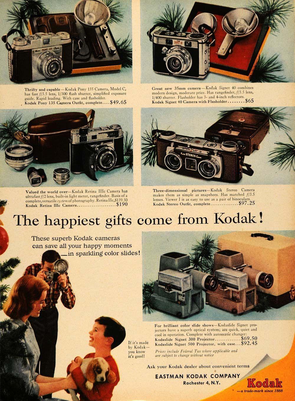 1956 Ad Eastman Kodak Christmas Camera and Lens Models - ORIGINAL TM5