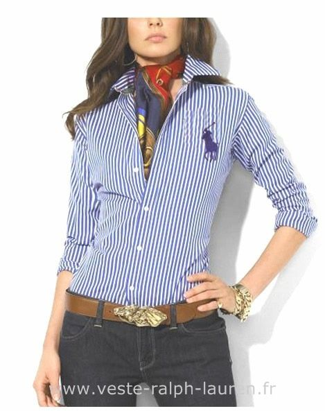 461a0f6033c77 boutique Officielle Ralph Lauren femmes chemises en ligne deep blue Chemise  Blanche Ralph Lauren