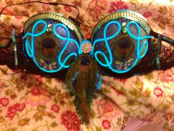 Light up bra el wire bra glow bra led bra rave bra from ...