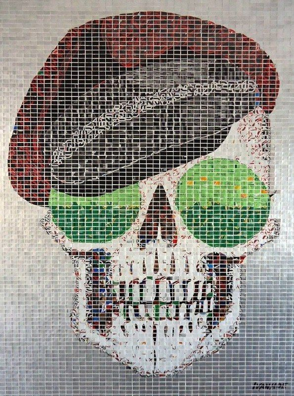 """""""Miles,"""" by Jeff Ivanhoe. It is a 36"""" x 48"""" art piece made out of hundreds of hand-cut aluminum can tiles."""