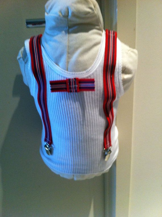 Baby James cotton singlet with faux braces and bow tie by BubBoots, $24.95